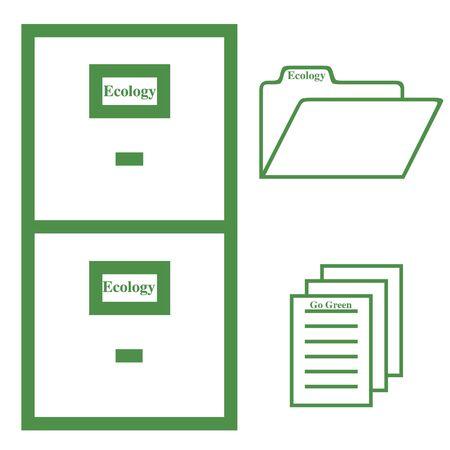 Ecology file cabinet illustration Banco de Imagens