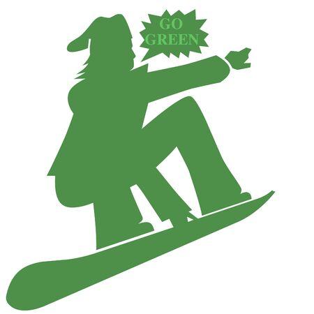 snowboarder: Snowboarder go green  illustration