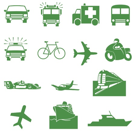 a white police motorcycle: Green transportation icons
