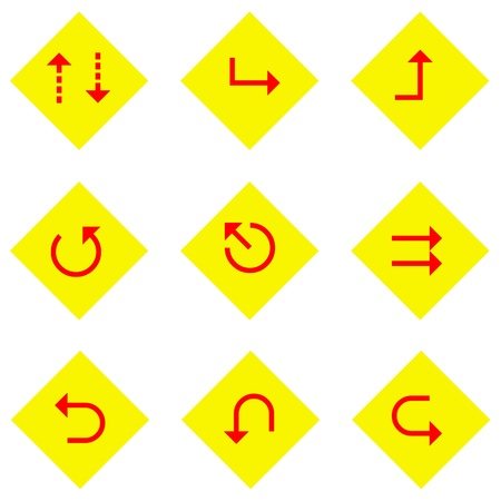 pointed arrows: Yellow signs and red arrows illustration