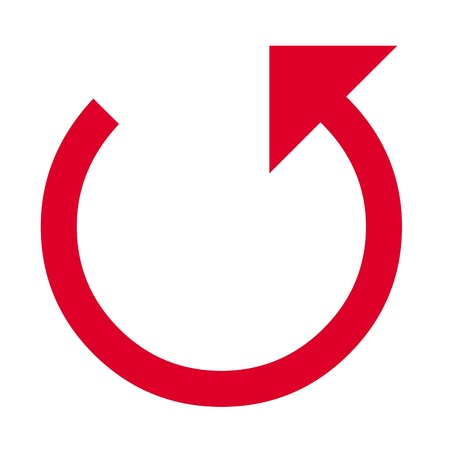 Three quarter circled pointed arrow illustration