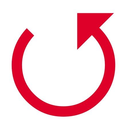Three quarter circled pointed arrow illustration