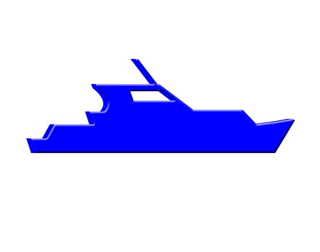3d boat: Blue 3d yacht icon
