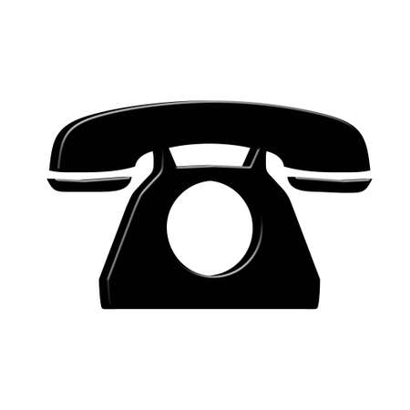 old phone: 3D Black dial phone Stock Photo
