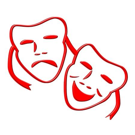 3D Happy and sad faces icon
