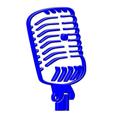 3D Blue microfoon icoon Stockfoto
