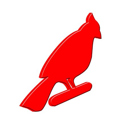 3D Red bird Stock Photo