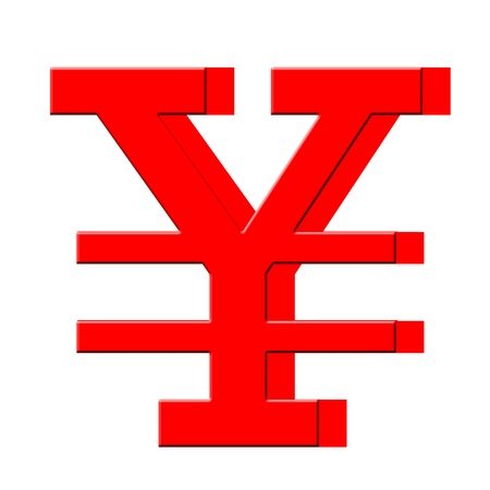3D Japanese yen symbol Stock Photo