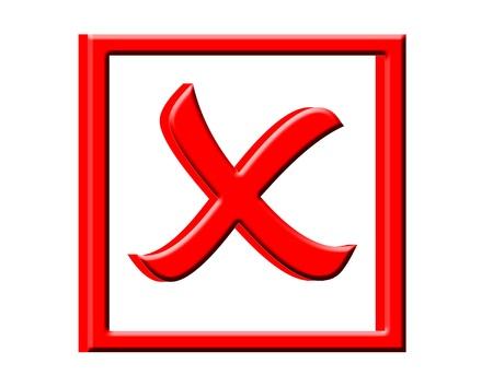 3D X box symbol