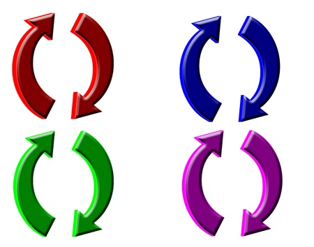 curved arrows: 3D Colored arrows