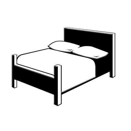 ブラック ベッド アイコン
