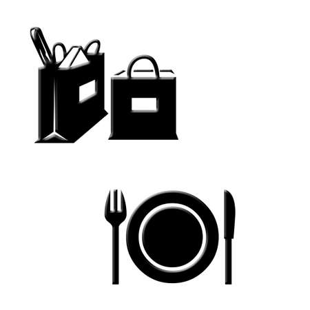 dinnerware: Grocery bags and dinnerware icons on white