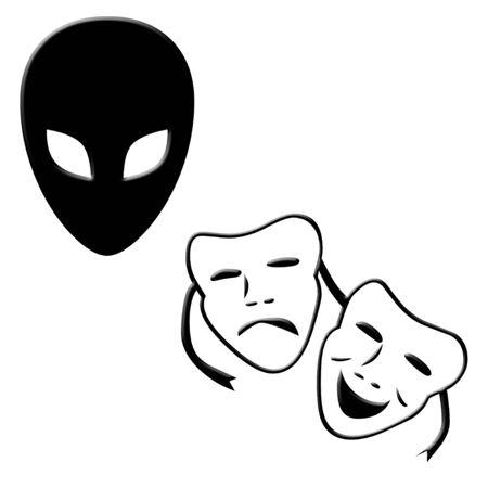 Alien and happy sad faces