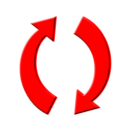 flechas curvas: Curva roja 3D icono de las flechas Foto de archivo