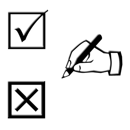 Hand writing and voting boxes icons