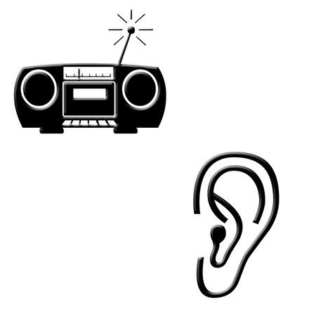 Radio en oor pictogrammen