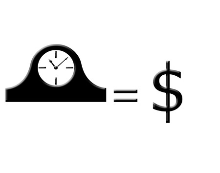 sign equals: Clock and dollar sign icons