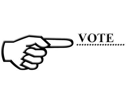 손가락 포인팅 아이콘 및 투표 텍스트