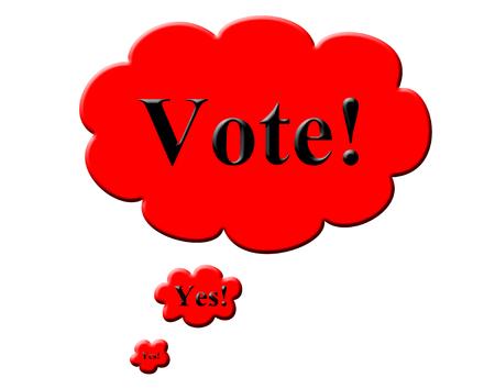 생각 거품과 투표 텍스트