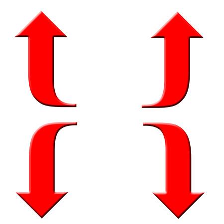 flechas curvas: Flechas curvas rojas sobre fondo blanco Foto de archivo