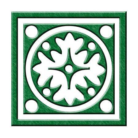 Green Christmas ornament on white background