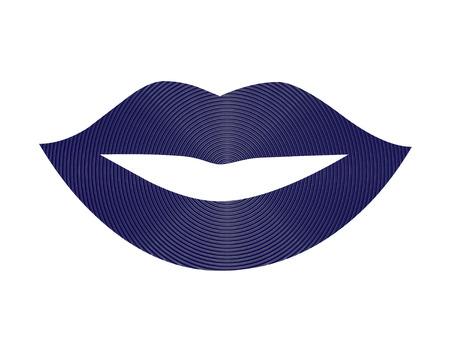 Dark blue woman lips illustration Stock Photo