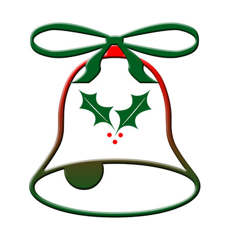 Christmas bell ornament on white background
