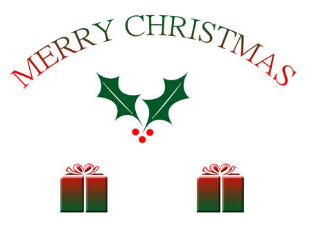 Merry Christmas text and ornaments