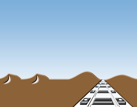 Desert scene with railroad track and blue sky illustration.