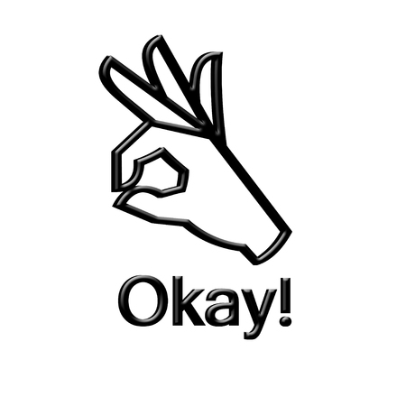 Okay hand gesture on white background.