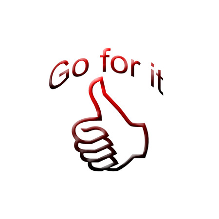 Go for it text with thumb up illustration