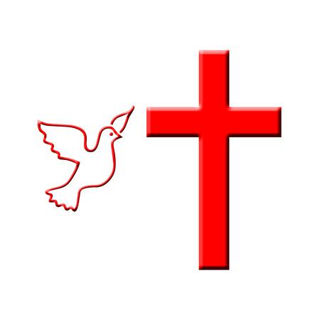 Dove and cross illustration 版權商用圖片