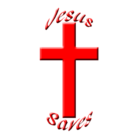redemption: Jesus saves text with red christian cross illustration