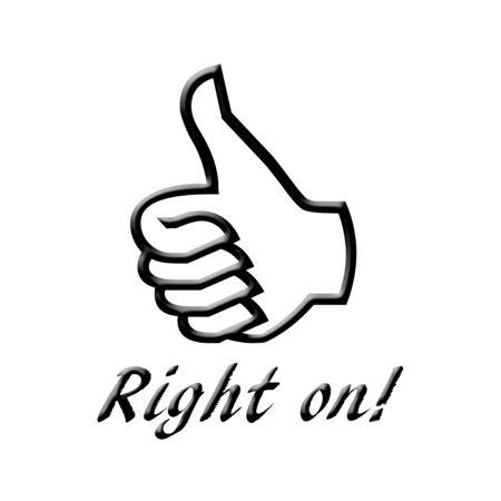 Direct aan typografische tekst en duim omhoog illustratie Stockfoto