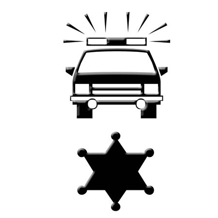 Police car and badge icons Stok Fotoğraf