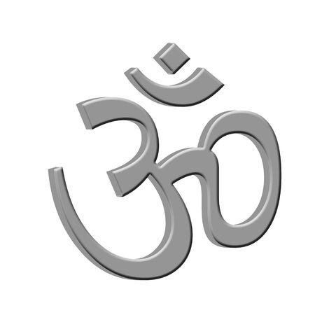 3d om: Silver 3D Hindu Om symbol