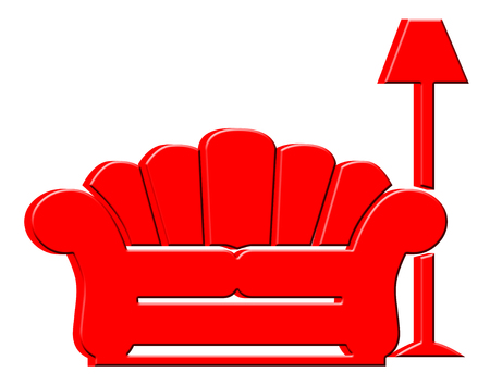 davenport: Red 3D couch and lamp icon Stock Photo