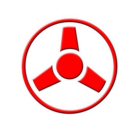 Red radiation icon on white background
