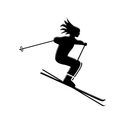 Woman snow skier icon on white Stok Fotoğraf