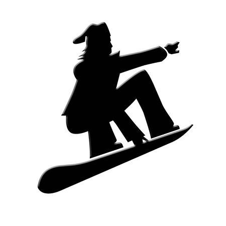 Snow boarder icon on white
