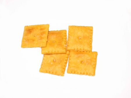 Cheese crackers photo on white background