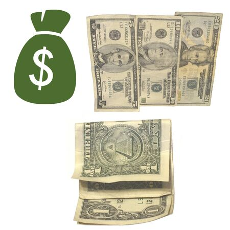 Money bag icon and us currency photo on white