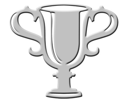 Silver trophy cup icon on white background