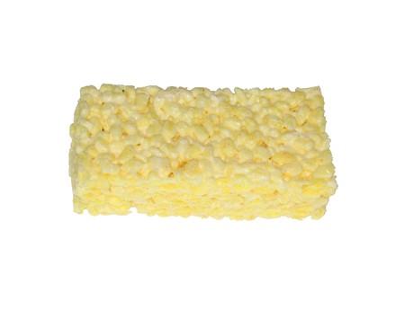Foto del bocado de la melcocha del arroz en blanco Foto de archivo - 68446542