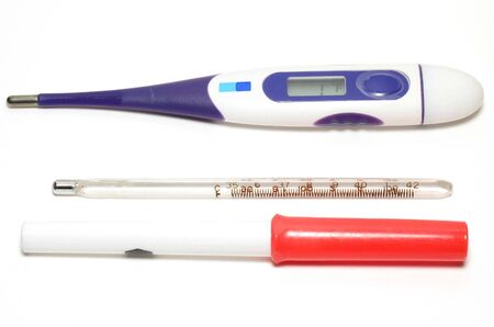 Thermometers photo on white background