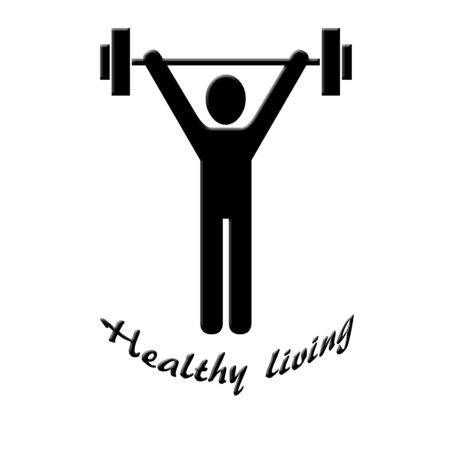 Lifting weights illustration on white Stock Photo