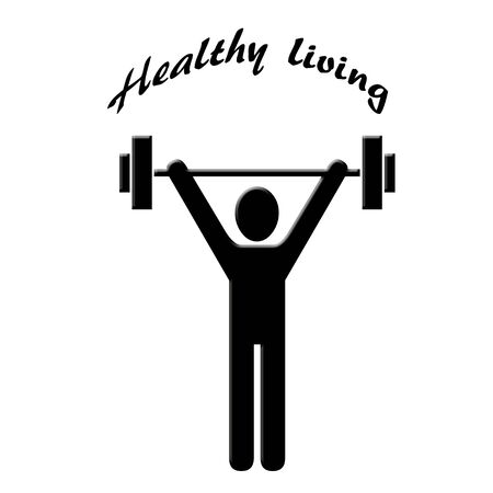 Man lifting weight icon with text Stock Photo