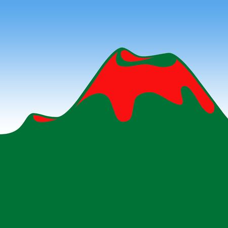 Volcano eruption and blue sky illustration Stock Photo