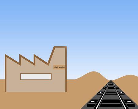 Train station illustration against blue sky