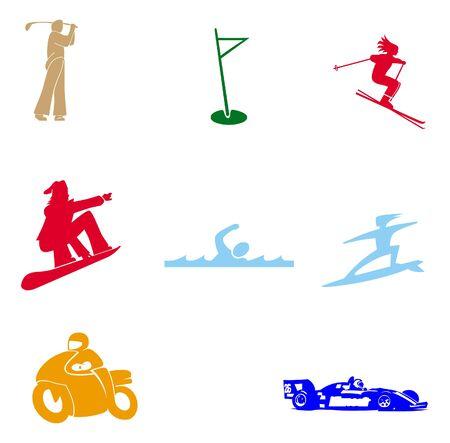 Sports symbols on white background Stock Photo
